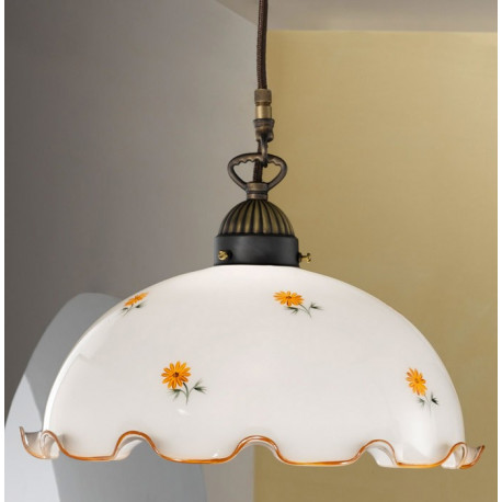 Kolarz Nonna Glass Hanging Light Yellow Flowers