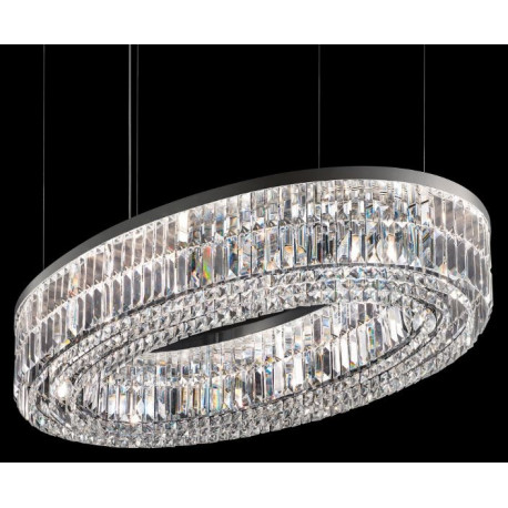 Masiero Impero and Deco Crystal Oval Pendant Light