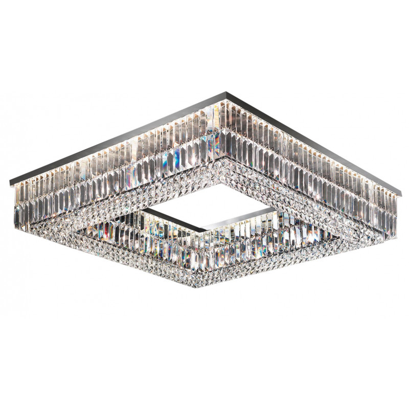 Masiero Impero and Deco Crystal Square Flush Ceiling Light