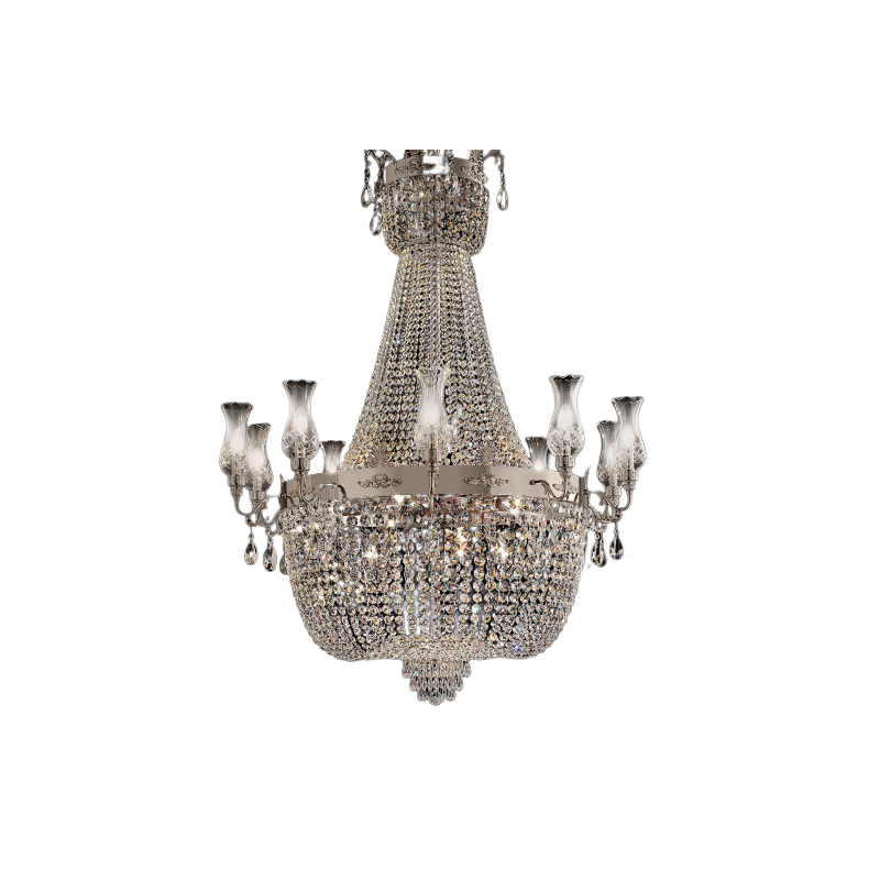 Masiero Impero and Deco Crystal 20 Chandelier Light