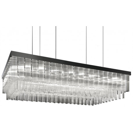 Masiero Impero and Deco Crystal Rectangular Pendant Light