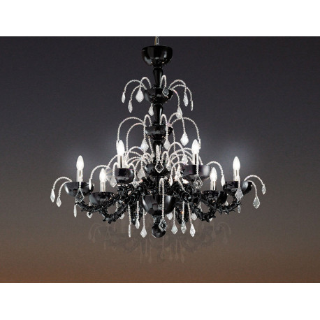 Leucos Couture Crystal Chandelier Black