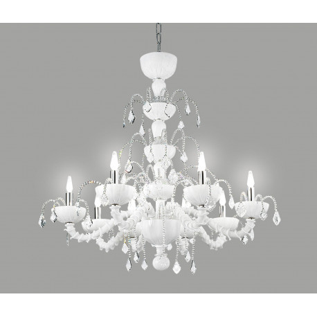 Leucos Couture Crystal Chandelier White