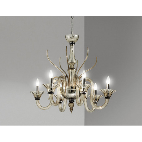 Leucos Belzebu Glass Chandelier Smoked