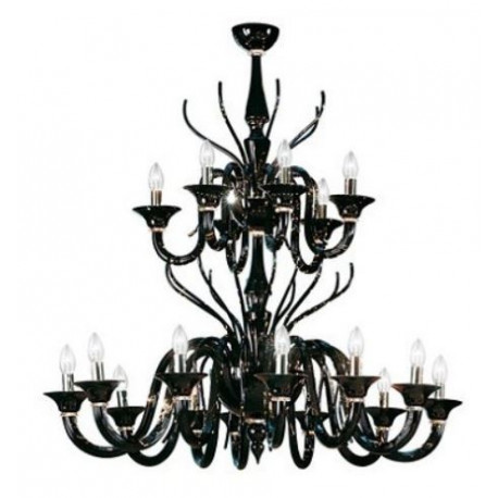 Leucos Belzebu Glass Chandelier Black