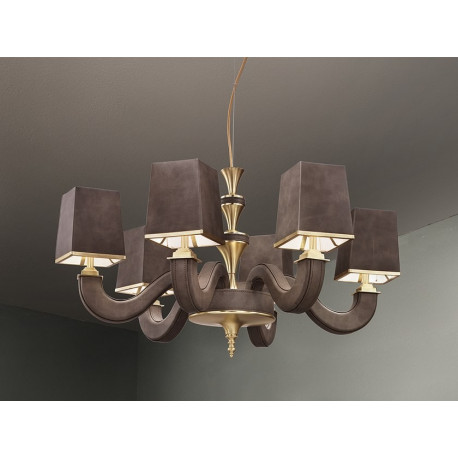 Masiero Darshan Pendant Light Brushed Brass & Leather