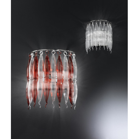 Metal Lux Arena Glass Wall Light Red and Clear