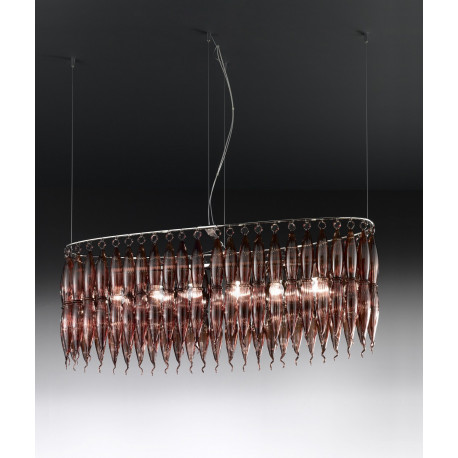 Metal Lux Arena Glass Hanging Light Brown