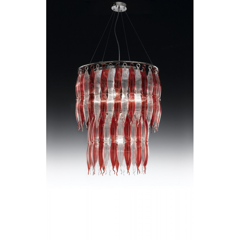 Metal Lux Arena Glass Hanging Light Red and Clear
