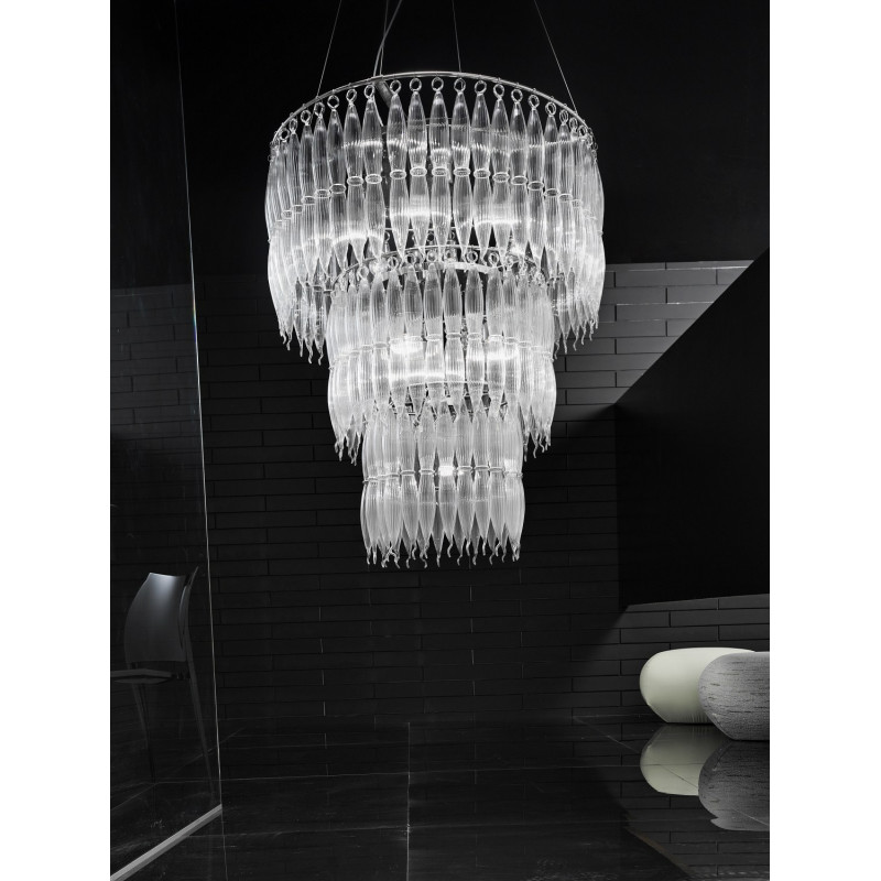 Metal Lux Arena Glass Hanging Light Clear