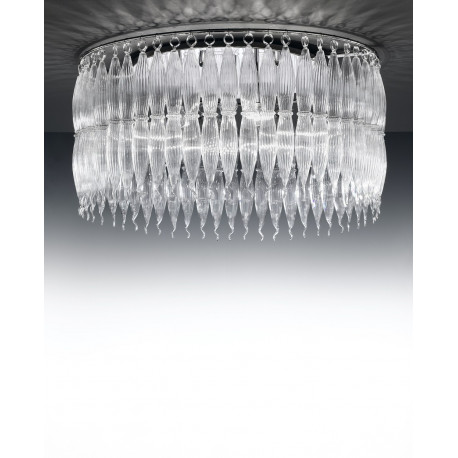 Metal Lux Arena Glass Ceiling Light Clear