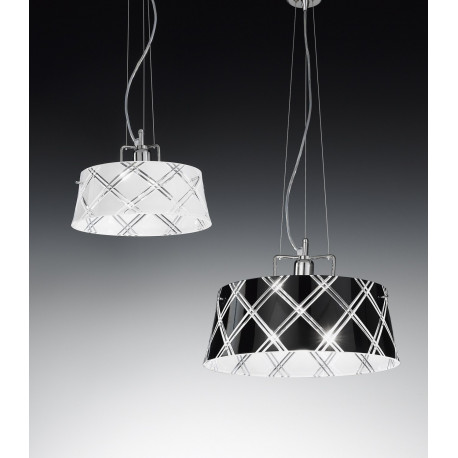Metal Lux Corallo Glass Hanging Light Black