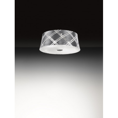 Metal Lux Corallo Glass Ceiling Light Silver