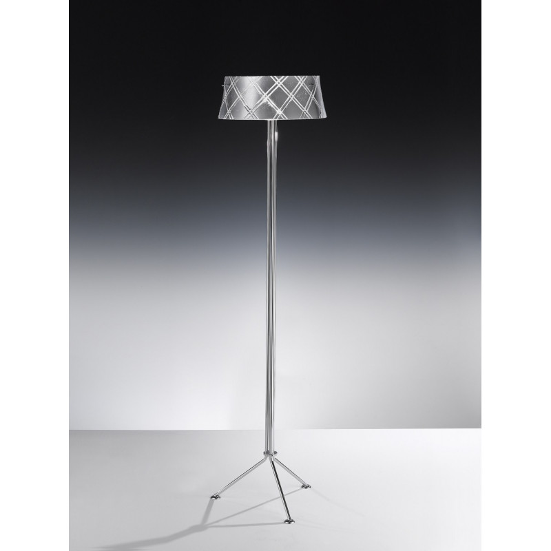 Metal Lux Corallo Glass Floor Lamp Silver