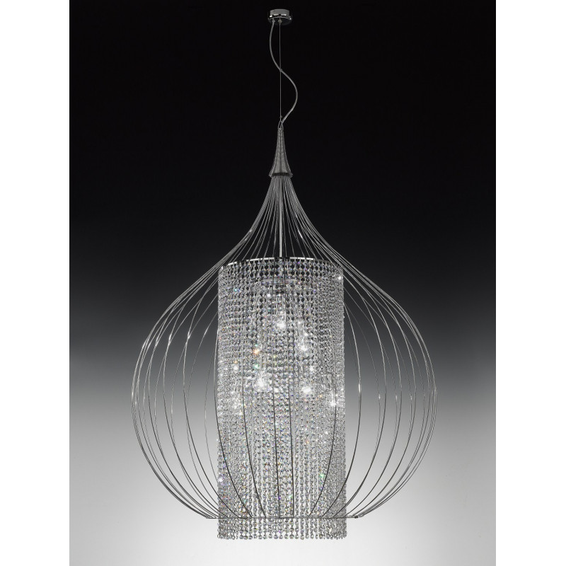Metal Lux Goccia Crystal Hanging Light Chrome