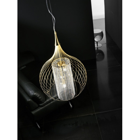Metal Lux Goccia Crystal Hanging Light Gold