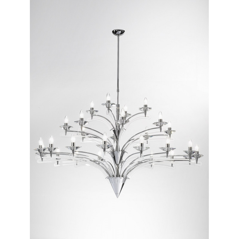 Metal Lux Icaro Crystal Chandelier Chrome