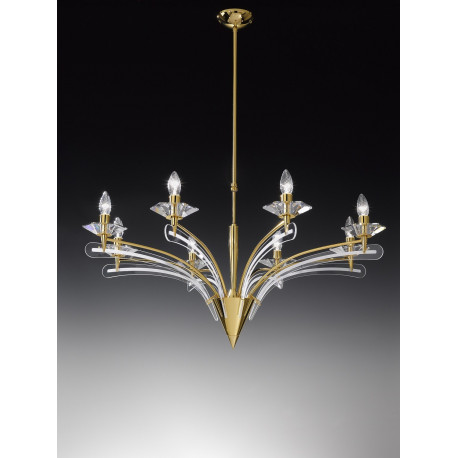 Metal Lux Icaro Crystal Chandelier Gold