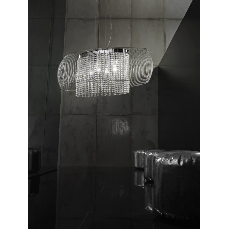 Metal Lux Nido Crystal Hanging Light Chrome