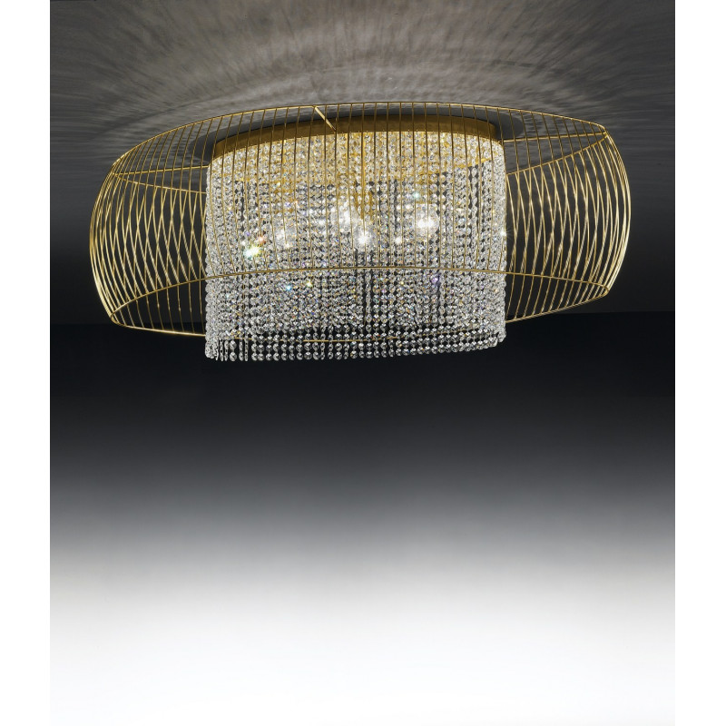 Metal Lux Nido Crystal Ceiling Light Gold
