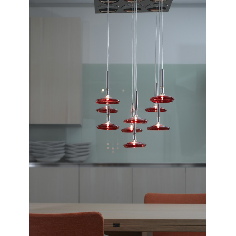Metal lux capriccio glass hanging light red 168199 03 free for Ampoule suspension luminaire