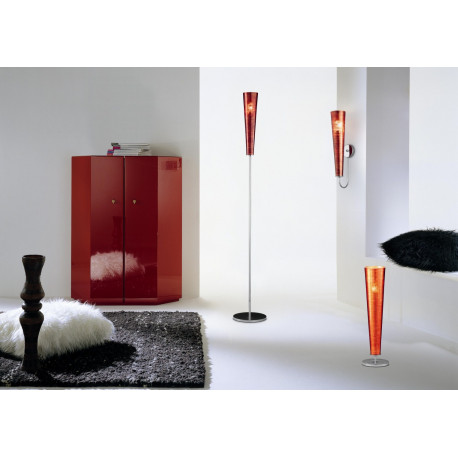 Metal Lux Gold Fire Glass Floor Lamp Brown