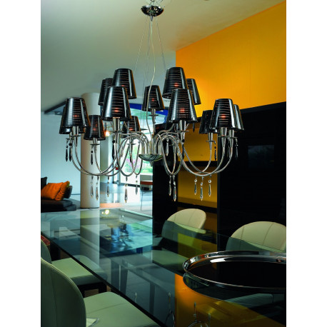 Metal Lux Opera Glass Chandelier Black