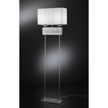 Metal Lux Padova Crystal Floor Lamp White Organza