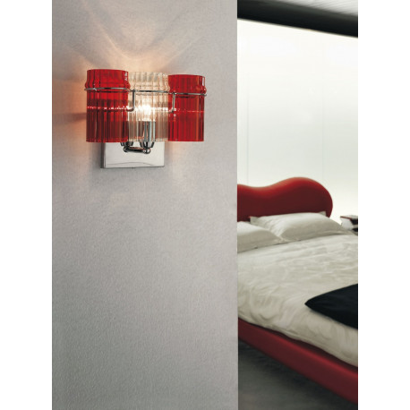 Metal Lux Rondo Glass Wall Light Red and Clear