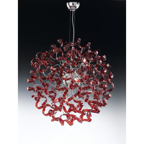Metal Lux Astro Glass Hanging Light Red