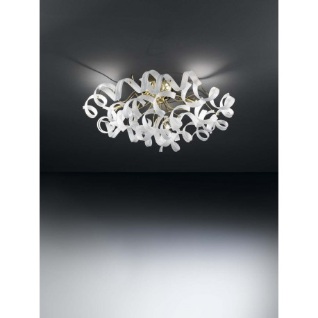 Metal Lux Astro Glass Ceiling Light White