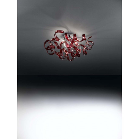 Metal Lux Astro Glass Ceiling Light Red