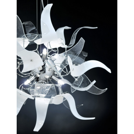 Metal Lux Diva Glass Hanging Light Clear and White