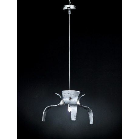 Metal Lux Diva Glass Hanging Light Silver