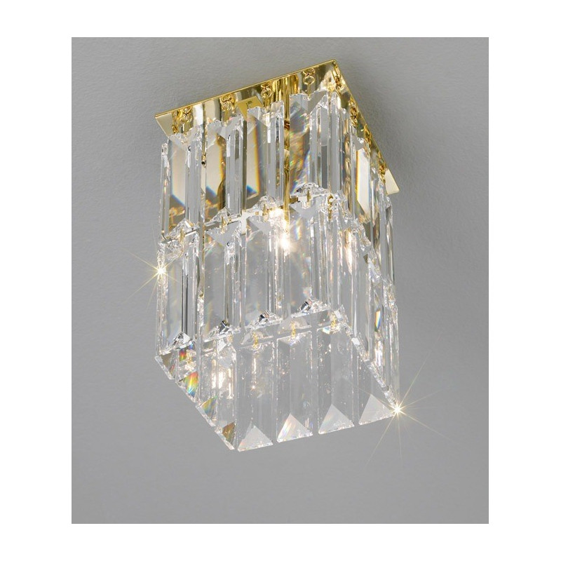 Kolarz Prisma Square Crystal Ceiling Light Gold