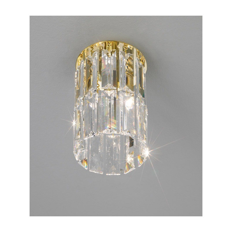 Kolarz Prisma Circular Crystal Ceiling Light Gold
