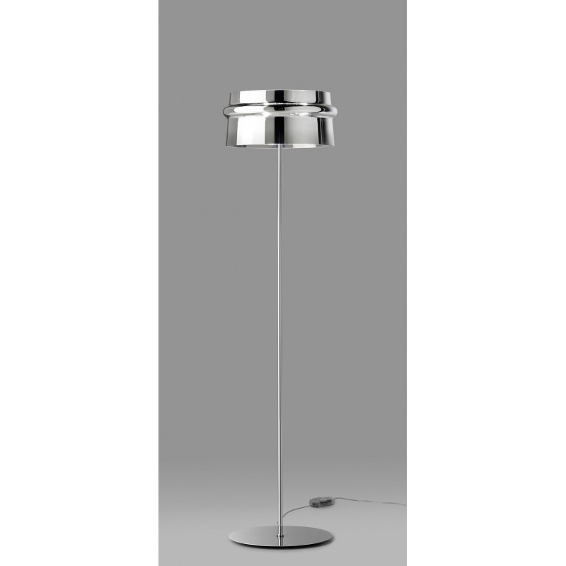 Leucos aro glass floor lamp chrome lighting deluxe for Hadley chrome floor lamp