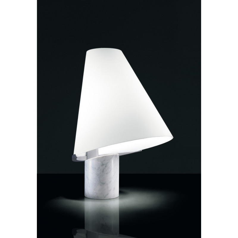 Leucos Micene Glass and Marble Table Lamp
