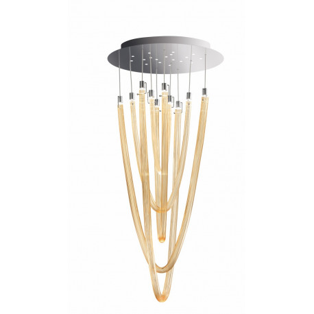 Leucos Acqualuce Glass Hanging Light Amber