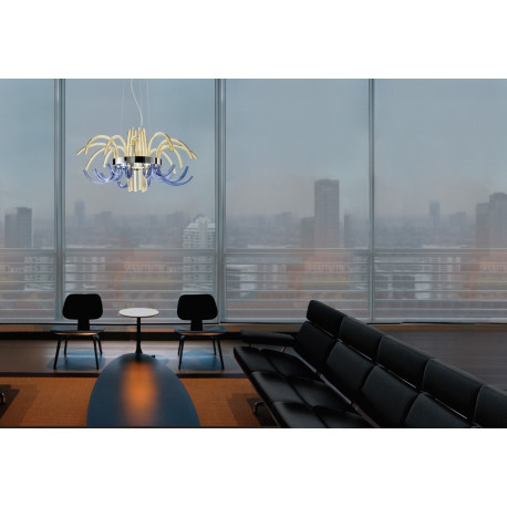 Leucos Filux Glass Chandelier Amber and Blue
