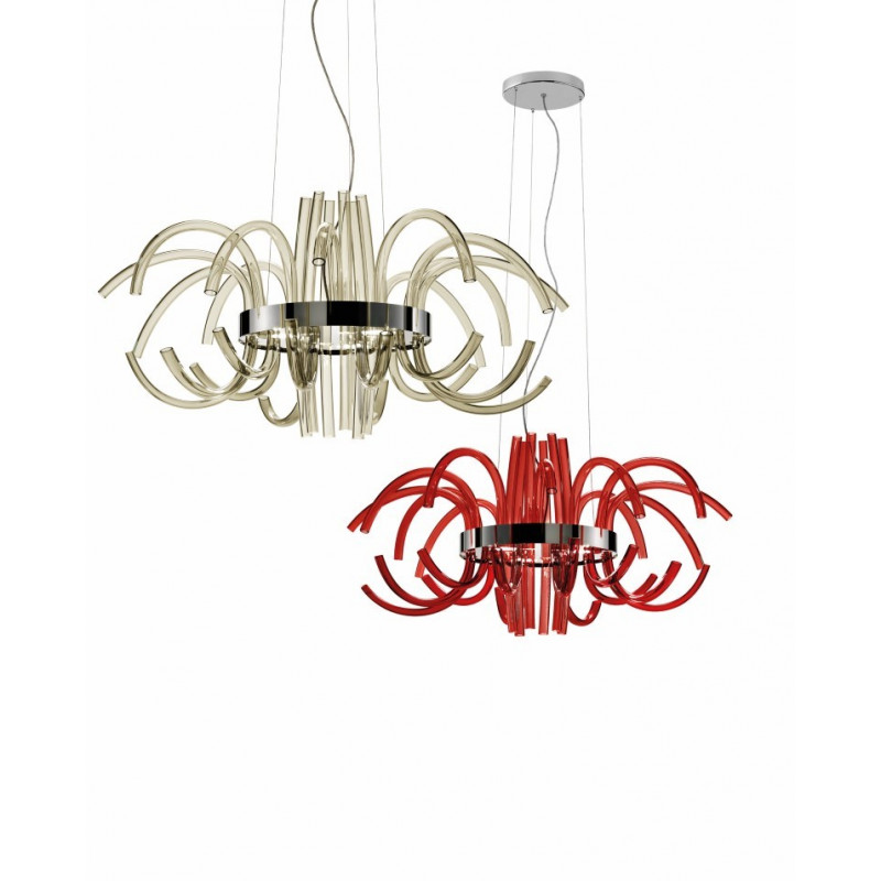 Leucos Filux Glass Chandelier Smoked