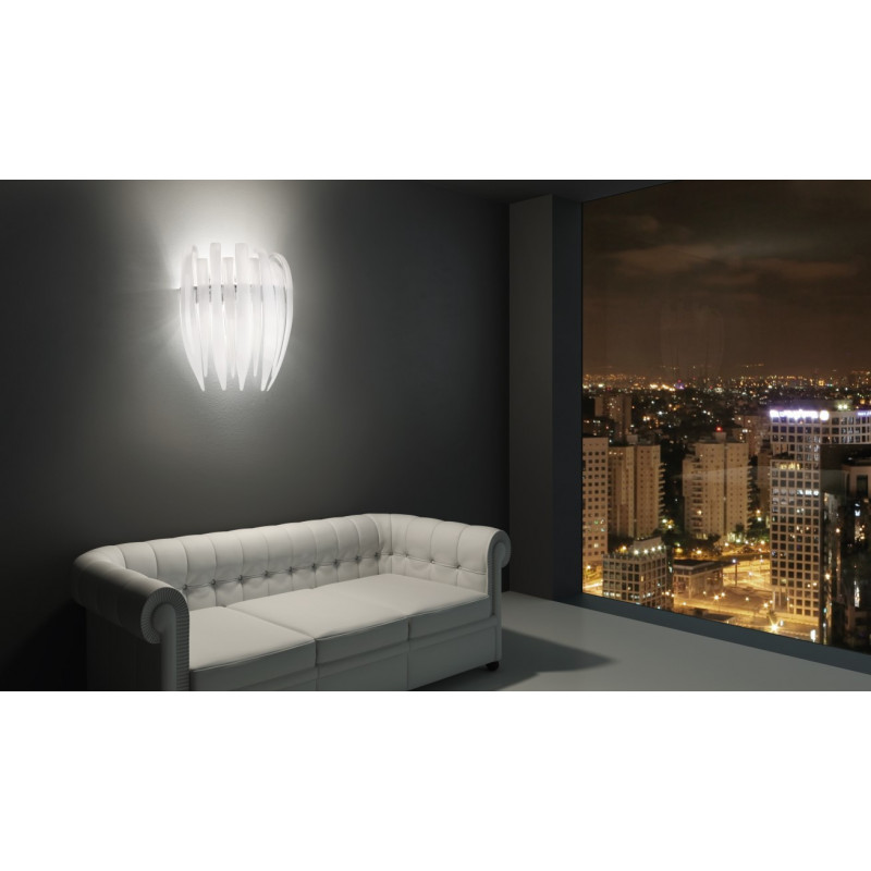 Leucos Dracena Glass Wall Light White