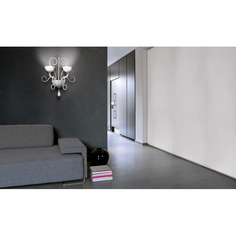 Leucos Bolero Glass Wall Light White