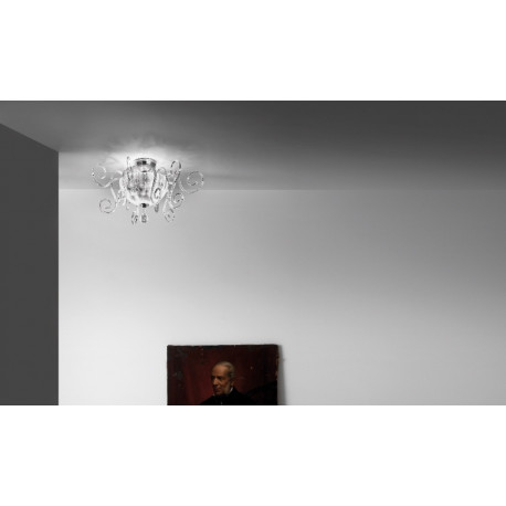Leucos Bolero Glass Ceiling Light Crystal