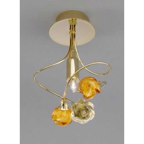 Kolarz Twister Rosy Glass Ceiling Light Gold