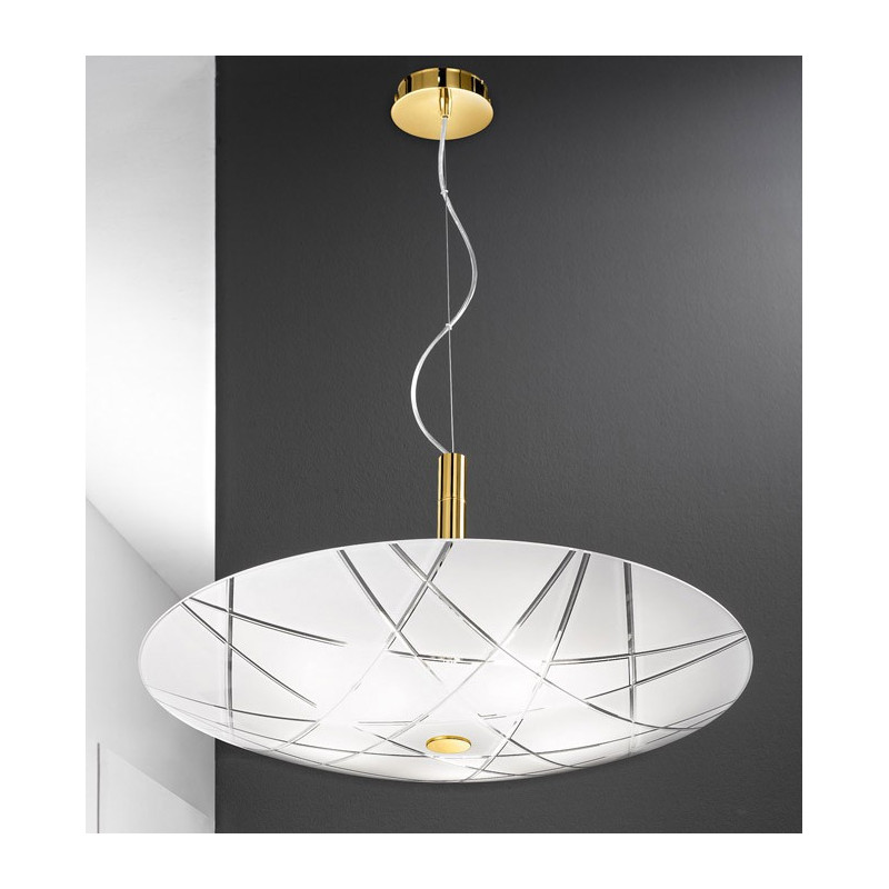 Kolarz Mikado Glass Hanging Light White and Gold