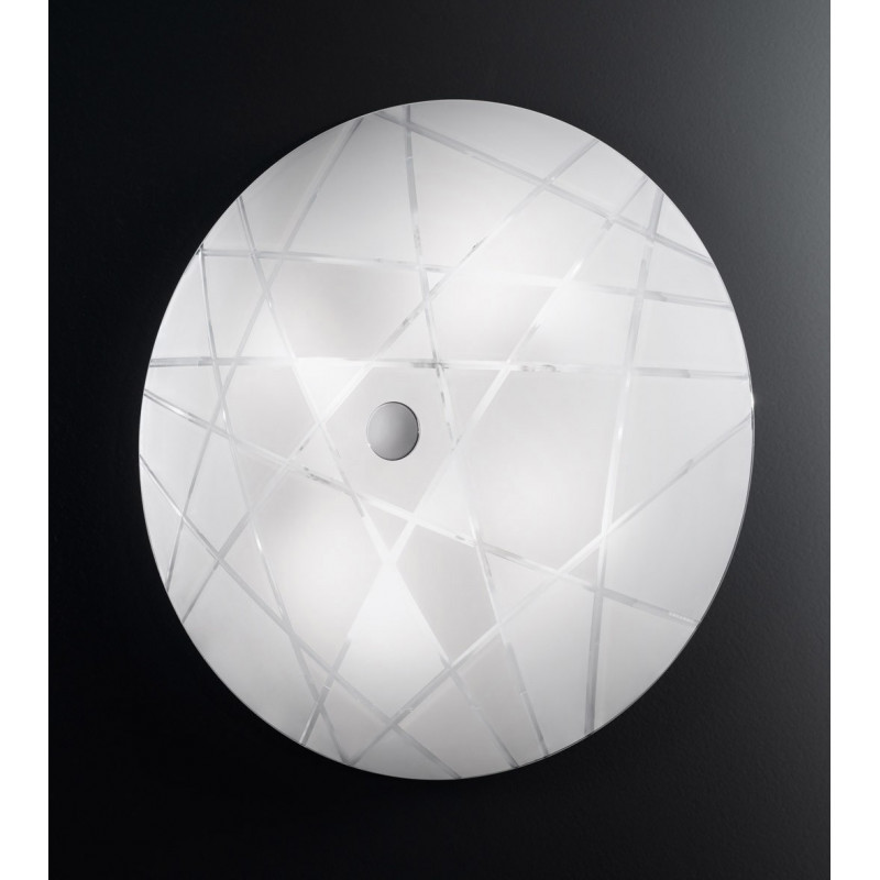 Kolarz Mikado Glass Ceiling Light Nickel and White