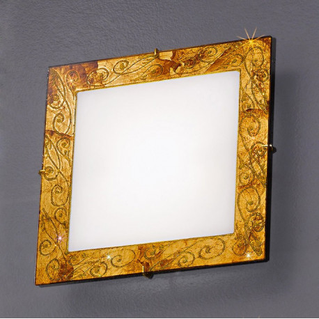 Kolarz Medici Square Glass Ceiling Light Gold