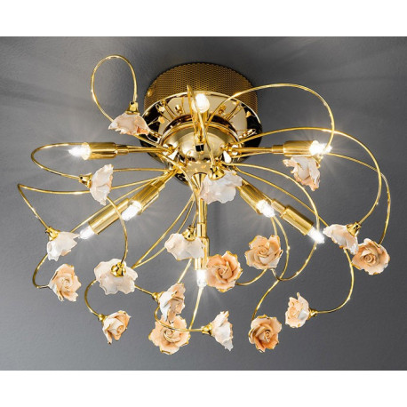 Kolarz Twister Rose Porcelain Ceiling Light Pink