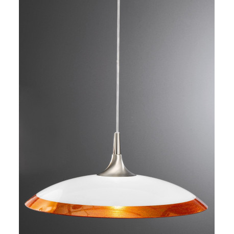 Kolarz Cristallino Glass Hanging Light Nickel and Orange